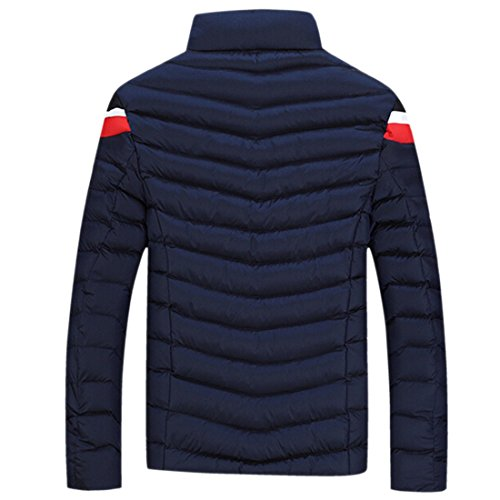 QIYUN.Z Männer Winter Warm Standplatzkragenoberbekleidung Jacke Verdicken Fit Cotton-Padded Mantel Deep Blau