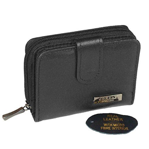 LADIES WOMENS REAL BLACK LEATHER PURSE