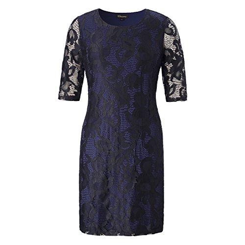 Chicwe Damen Volle Spitze Etuikleid Große Größen Strecken Abendkleider Cocktail Kleid 4X (Essential Knit Kleid)