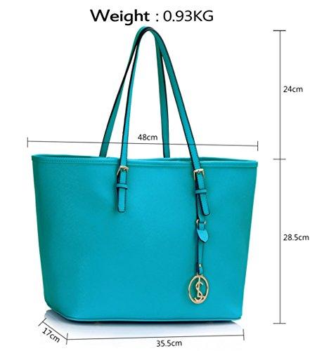 LeahWard® Große Größe Damen Einkaufstaschen Groß Schulter Handtaschen Zum Damen A4 Tote 297 Teal