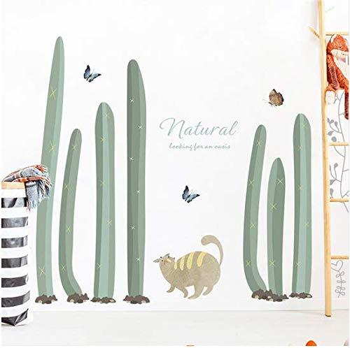 �nen Kaktus Schmetterling Katze Wandaufkleber Natürliche Wüste Pflanze Schlafzimmer Wohnzimmer Wohnkultur Diy Abnehmbare Aufkleber ()