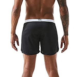 Yourgod Men's Home Boxer Briefs Soft Solid Color Briefs Underpants Knickers Shorts Sexy Underwear Comfortable Lace-up Casual Summer Pant Black