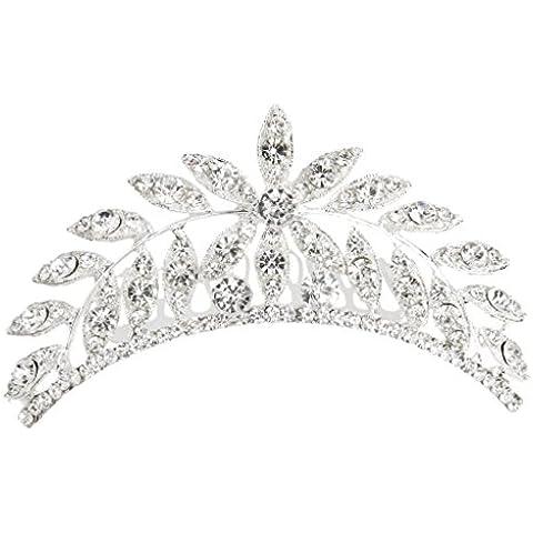 Da Cerimonia Nuziale Di Promenade Di Diamante Di Cristallo Strass Clip Di Foglia Di Capelli Pettine