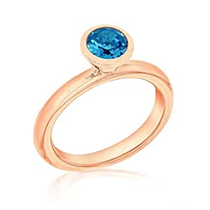 Tuscany Silver Sterling Silver Rose Gold Plated Blue Crystal Ring - Size L