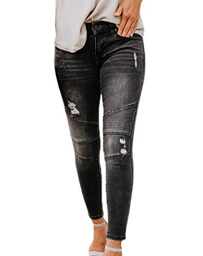 Keephen KH Frauen Slim-Fit Schwarze Loch elastische Plisseehose Ripped Distressed Slim Fit Stretchy Denim-Hose - Miss Me Distressed Jeans