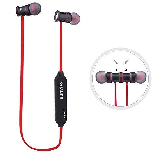 Sunvito Deporte V4.1 de Bluetooth Auricular, Ligero Nuca Sudor Auriculares Estéreo Inalámbricos con Mic para Llamadas de Manos Libres y Magnética Atracción para iPhnoe, Samsung, Android Rojo