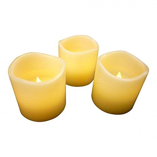 Set de velas LED de cera con 3 ámbar parpadeo llama 5 cm de alto juego de 3 casa caso iluminación por pk verde