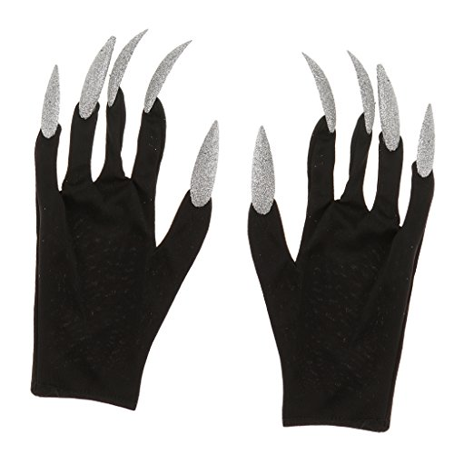 Baoblaze guanti di vampiro carnevale cosplay diavolo scherzetti - argento e nero