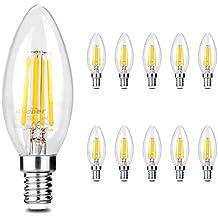 Ascher 10X E14 4W Bombilla Filamento LED, 420 Lumen, Equivalente 40W, Blanco Cálido 2700K,AC 220-240V