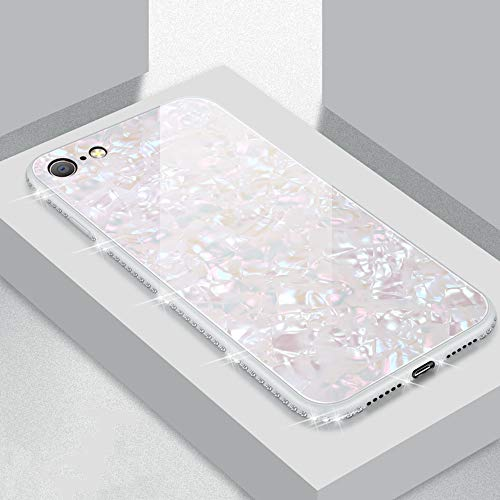 UEEBAI Hülle für iPhone 7 iPhone 8, Muschel Design Handyhülle Ultra Slim mit Eingelegt Glitzer Diamant Strass Gehärtetes Glas Zurück Abdeckung Flexible TPU Bumper Case Anti Kratzer Frauen - Weiß -