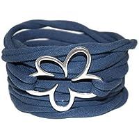 Wickelarmband - Stretcharmband - rauchblau - Endlosarmband - aus Stoff - onesize