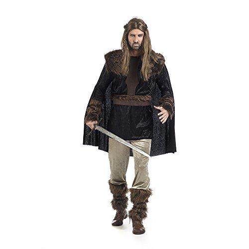 Kostüme Ritter Schwarze Erwachsene (Wikinger Herren Kostüm Nils Mittelalter 2tlg Tunika mit Cape Hose braun schwarz -)
