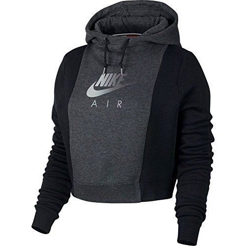Nike Women 's Sportswear Hoodie, Hooded Long Sleeve Top Damen, damen, Women's Nike Sportswear Hoodie, black heather/Black/Black (Top Womens Nike)