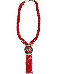 Purpledip Necklace Chain With Red Glass Beads & Mosaic Work Brass Pendant; Unique Design For Traditional Wear...
