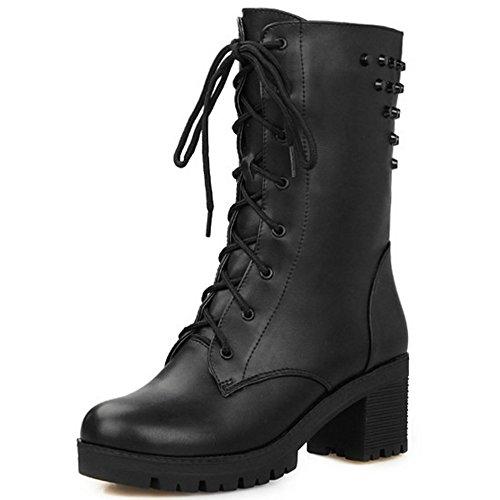 TAOFFEN Damen Trend einfachen Schuhen mit hohen Absätzen Blockabsatz Knöchel Martin Stiefel mit Nieten Schnürung Schwarz