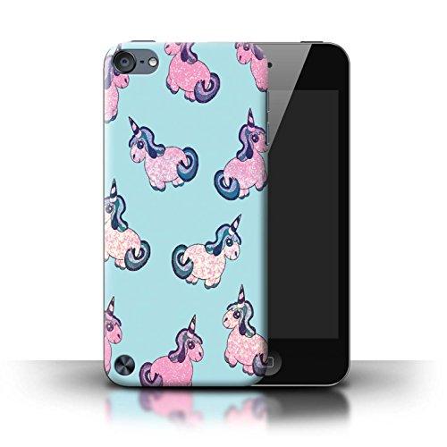 Stuff4® Hülle/Case für Apple iPod Touch 5 / Glitzer/Aqua Rosa Muster/Einhorn/Unicorn Kollektion -