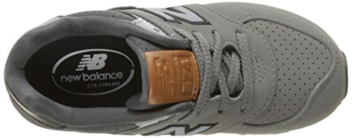 New Balance 574 High Visibility, Baskets Basses Mixte Enfant gris/noir