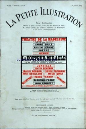 PETITE ILLUSTRATION (LA) [No 337] du 02/07/1927 - THEATRE DE LA MADELEINE - MIRACLE - PERSONNAGES - GEORGES DUPRAT ANDRE BRULE - GERBAULT-MOREUIL SATURNIN FABRE - LE CURE JOFFRE - CHANTREL BEUVE - LE MINISTRE DE L