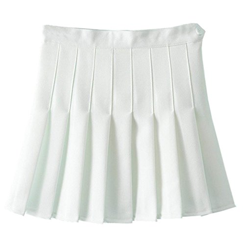 Zeagoo Tennisrock damen High Waist Tennis Mini Rock    EU 38/(Asian L),   Weiß