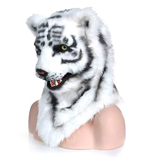 erkopf-Maske Handmake-Tiger-Kopfbedeckung mit dem beweglichen Maskerade-Halloween-Kühlungs-Tigermaske (Color : White, Size : 25 * 25) ()