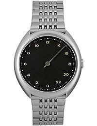 Slow O 02 - Tous les en acier argenté Cadran Noir Mixte Montre à quartz avec affichage analogique et bracelet en acier inoxydable Argenté Cadran Noir