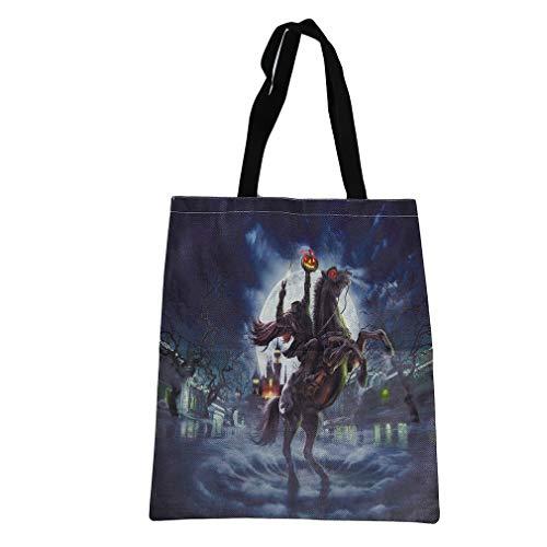 MOONQING Canvas Tote Bag Schultertasche Shopping Lebensmittelgeschäft Halloween Tote Candy Bag, Burg