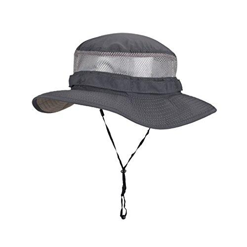 Sunny Herren Sunhat Sommer Draussen Sonnenschutz Anti-UV Atmungsaktiv Angeln Fischerhut (Farbe : Dunkelgrau, größe : XXL(63cm))