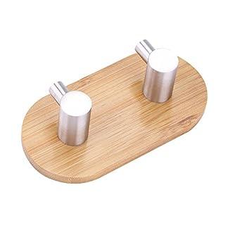 Fdit Ganchos Adhesivos de bambú Natural de Acero Inoxidable para Colgar en la Pared, Bolsa de Gancho para Colgar Toallas de Cocina, baño, Three Hook