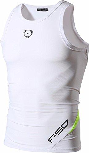 jeansian Uomo Sportivo Palestra Muscolo Formazione Veste Canotta Fashion Workout Vest Tank Top LSL3306 White M
