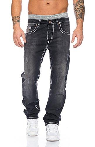 Rock Creek Herren Designer Denim Jeans Hose Dicke Weiße Zier Nähte [RC-2047 - Schwarz - W31 L32]