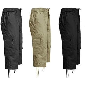 061c756743 MENS 3/4 ELASTIC WAIST CARGO SUMMER COMBAT 6 POCKET SHORTS TROUSERS PANTS