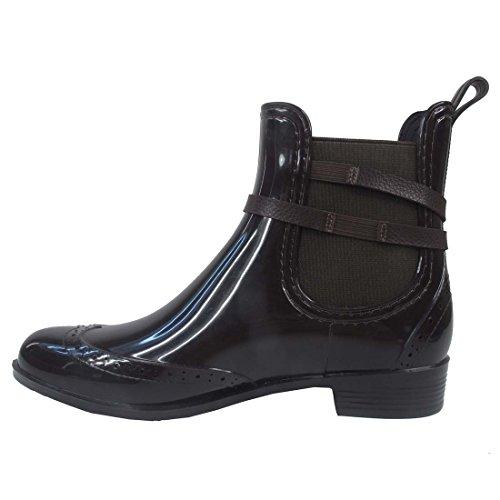 MaxMuxun Chaussures Femme Botte de Pluie En Caoutchouc EU 37-41 Brun avec boucle
