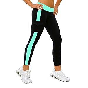iLoveSIA® Damen Caprihosen zweifarbig Sport leggings Capri Tights