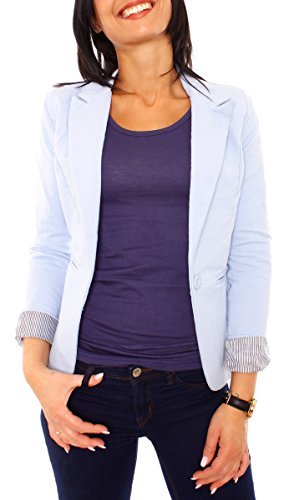 Damen Jersey Fashion Baumwoll Blazer mit Satin Futter Jacke gefüttert 3/4-Arm Business uni Made in Italy (L - 38, skyblue) -
