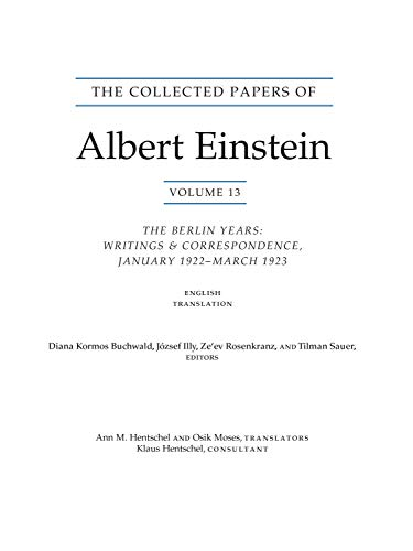 The Collected Papers of Albert Einstein, Volume - The Berlin Years: Writings & Correspondence, January 1922 - March 1923 (English Translation Sup