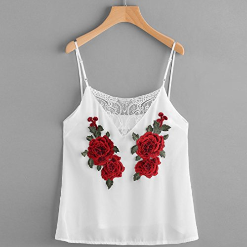 Bluestercool Femmes Gilet en Dentelle Roses Frontière Blanc