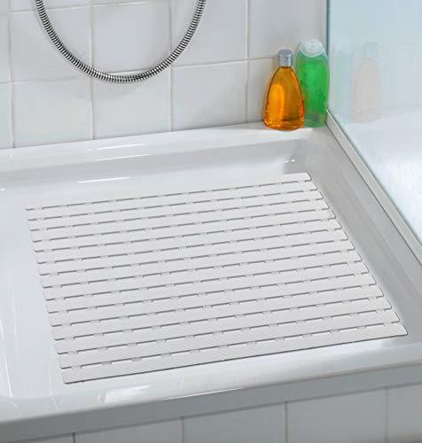 Wenko Duscheinlage Arinos Antirutsch-Duschmatte mit Saugnäpfen, Kunststoff, Weiß, 54 x 54 x 0.1 cm