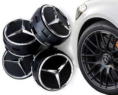 Centros de rueda AMG Mercedes Benz color negro, 75 mm, 4 unidades (A B C D S