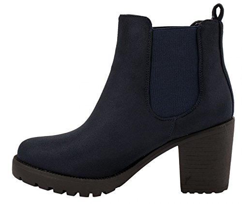 Elara Damen Chelsea Stiefel | Bequeme Stiefelette Profilsohle | Plateau Chelsea Boots | Gefüttert Navy Queen