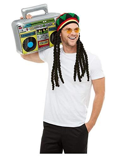 shoperama 3-teiliges Set Jamaika Reggae Strickmütze mit Dreadlocks Brille Ghettoblaster Rastaman Rastafari Karibik Festival