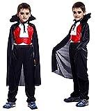 Costume Vampiro - Travestimento - Carnevale - Halloween - Dracula - Twilight - Colore Nero - Denti inclusi - Bambino - Taglia M - 4-6 anni - Idea regalo per natale e compleanno