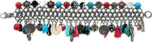"""Amaro Jewelry Studio .925 Silver Plated Bangle Charms Bracelet from """"Maya"""" Collection Finished with Turquoise, African Turquoise, Coral, Black Onyx and Swarovski Crystals"""