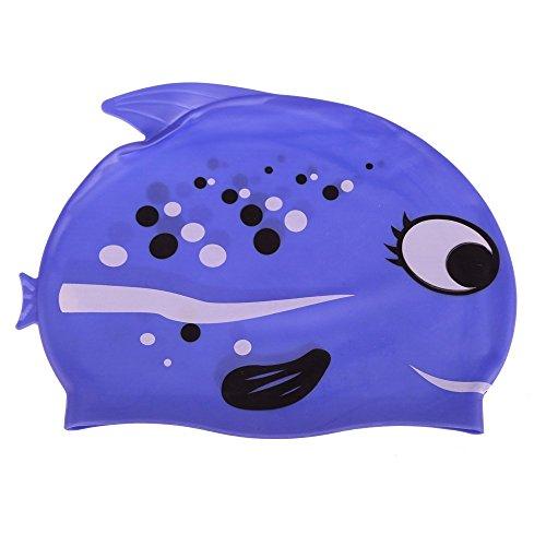 TOOGOO(R) Lieblich Cartoon Silikon Kinder-Badekappe Wasserdicht Fisch-Form Stil Blau
