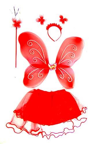 Evil Wear Prinzessin Kostüm Kinder Elfen Verkleidung Feen Flügel Set 4-teiliges Set rot