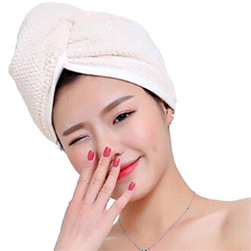 Lalang Mikrofaser Trockene Haarkappe Turban Haartrockentuch Handtuch Kopftuch Haartrockentuch Handtücher (Beige) (Trocken-shampoo Kappe)
