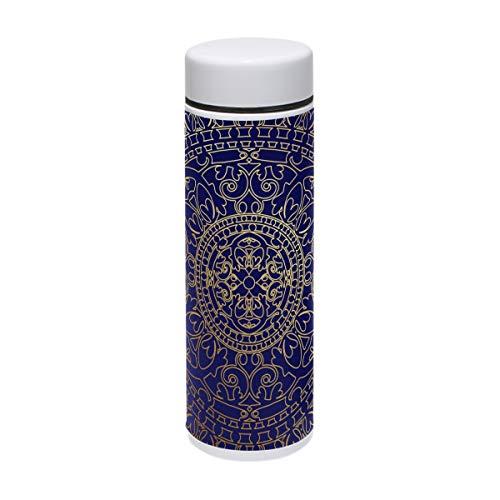 TIZORAX Trinkflasche aus Edelstahl, orientalisch, Blau und Gold, Hippie-Mandala-Design, für...