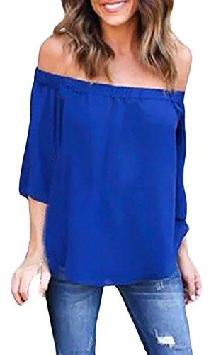 Donna Camicia Elegante Chiffon Manica Corta Spalla Di Parola Spalla Off Senza Schienale Vintage Classica Estiva Taglie Forti Blusa Top Camicie Blu