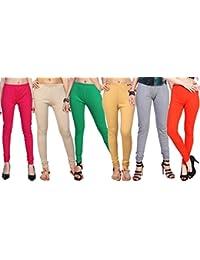 Comix Women Cotton Hosiery Leggings Combo Set of 6(AGSPL-3156-LG-CMB6)