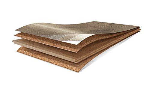 Megafloor EHC008 Comfort Korkboden, 8 mm mit 1, 99 m² im Paket, Villefort Pinie Weiß