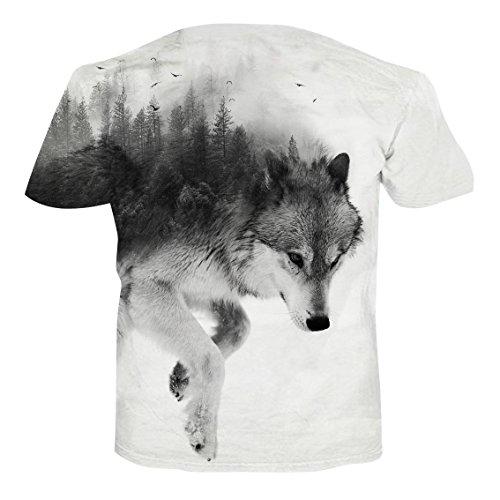 NEWISTAR Unisex 3D Druckten Sommer-Beiläufige Kurze Hülsen-T-Shirts T-Stücke wolf white
